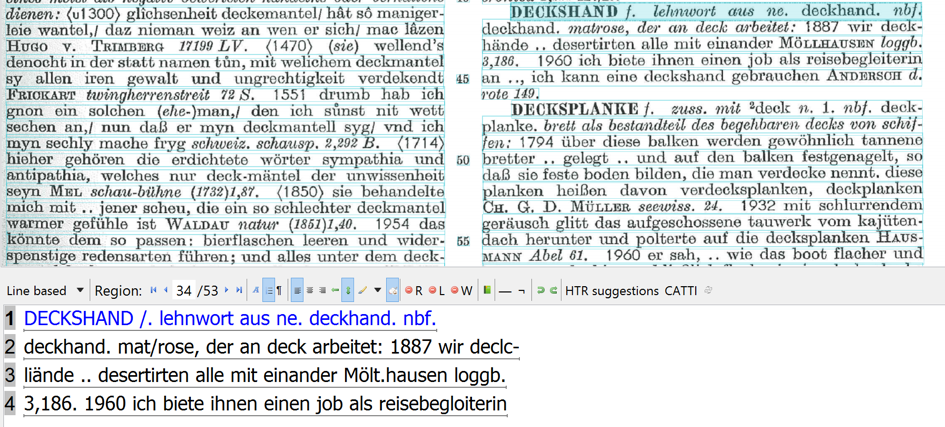Example 6. Grimm dictionary: OCR is reasonable, but could have been better with a higher resolution image.